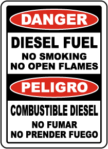 Bilingual Diesel Fuel No Smoking No Open Flames Sign