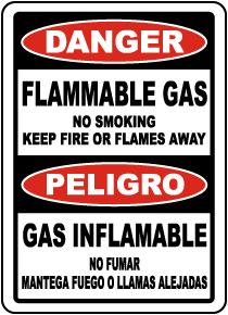 Bilingual No Smoking Flammable Gas Sign