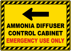 Ammonia Diffuser Control Cabinet Left Arrow Sign