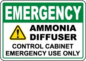 Emergency Ammonia Diffuser Sign