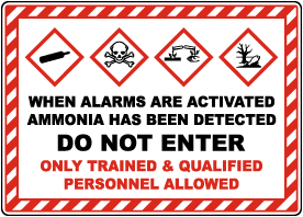 Do Not Enter Ammonia Detected GHS Sign