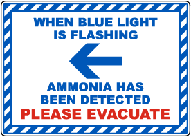 When Blue Light Is Flashing Ammonia Detected Left Arrow Sign