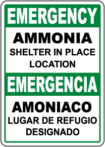 Bilingual Emergency Ammonia Shelter In Place Sign