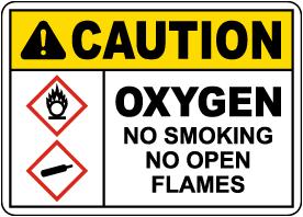 Caution Oxygen No Smoking No Open Flames Sign