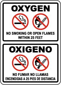 Bilingual Oxygen No Smoking No Open Flames