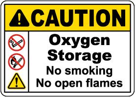Caution Oxygen Storage No Smoking No Open Flames Sign