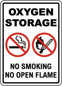 Oxygen Storage No Smoking No Open Flames Sign