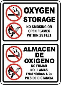 Bilingual Oxygen Storage No Smoking No Open Flames Sign