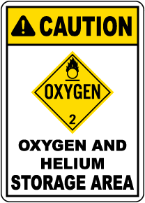 Caution Oxygen And Helium Storage DOT Sign