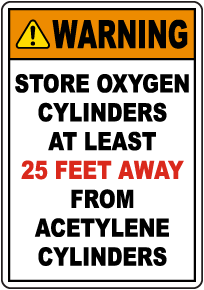 Warning Oxygen Cylinders Storage Sign