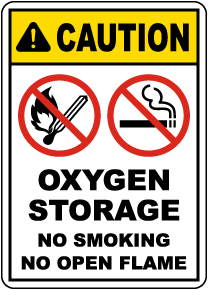Caution Oxygen Storage Sign