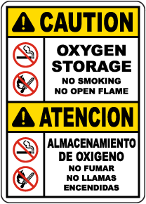Bilingual Caution Oxygen Storage Sign
