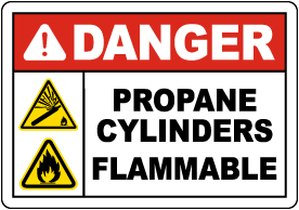 Danger Propane Cylinders Flammable Sign
