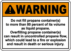 Warning Propane Container Sign