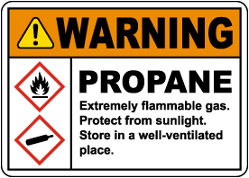 Warning Propane Flammable Gas GHS Sign