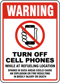 Warning Turn Off Cell Phones Sign
