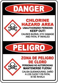 Bilingual Danger Chlorine Hazard Area Sign