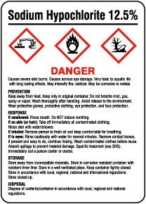 Sodium Hypochlorite Prevention Response Storage GHS Sign