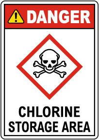 Danger Chlorine Storage Area GHS Sign