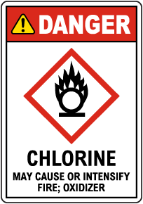 Danger Chlorine May Cause Or Intensify Fire GHS Sign