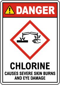 Danger Chlorine Causes Severe Skin Burns GHS Sign