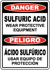 Bilingual Danger Sulfuric Acid Wear PPE Sign