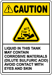 Caution Tank Contains Sulfuric Acid Sign