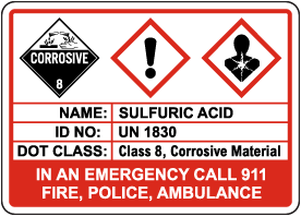Sulfuric Acid Classification Sign
