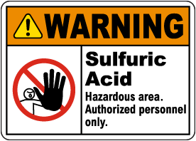 Warning Sulfuric Acid Hazardous Area Sign