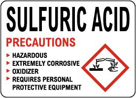 Sulfuric Acid Precautions Sign