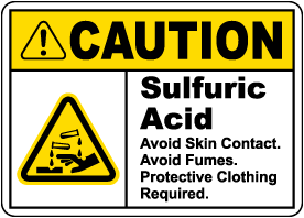 Caution Sulfuric Acid Avoid Prevention Sign