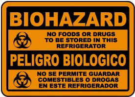 Bilingual Biohazard No Food Sign