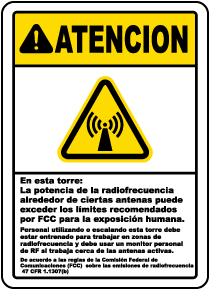 Spanish Caution on This Tower RF Fields May Exceed FCC Sign