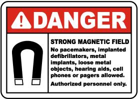 Danger Strong Magnetic Field Label
