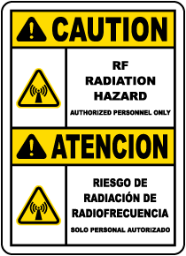 Bilingual RF Radiation Hazard Authorized Personnel Only Sign