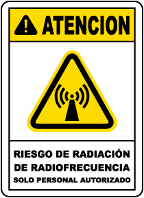 Spanish RF Radiation Hazard Authorized Personnel Only Sign
