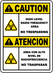Bilingual High Level Radio Frequency Area Sign