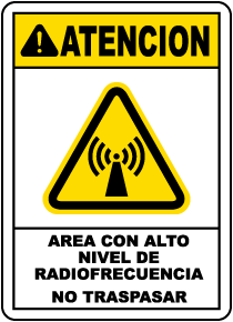 Spanish High Level Radio Frequency Area Sign