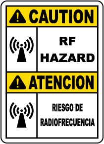 Bilingual Caution RF Hazard Sign