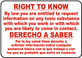 Bilingual Right to Know Sign