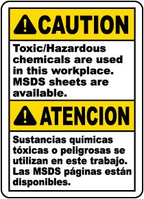 Bilingual Caution Toxic Hazardous Chemical Used Sign