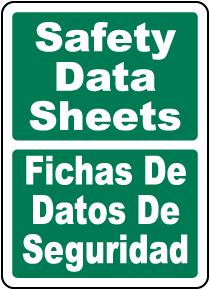 Bilingual Safety Data Sheets Sign