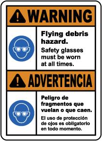 Bilingual Warning Flying Debris Hazard Safety Glasses Sign