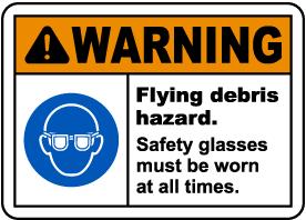 Flying Debris Hazard Safety Glasses Label