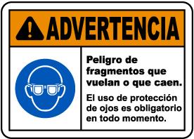 Spanish Warning Flying Debris Hazard Safety Glasses Sign