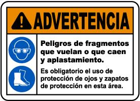 Spanish Warning Flying Debris and Crush Hazards Sign