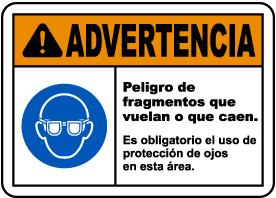 Spanish Warning Flying Debris Hazard Eye Protection Sign