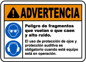 Spanish Flying Debris and Loud Noise Hazards Sign