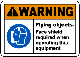 Flying Objects Face Shield Required Label