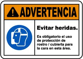 Spanish Warning Face Shield Must Be Worn Sign